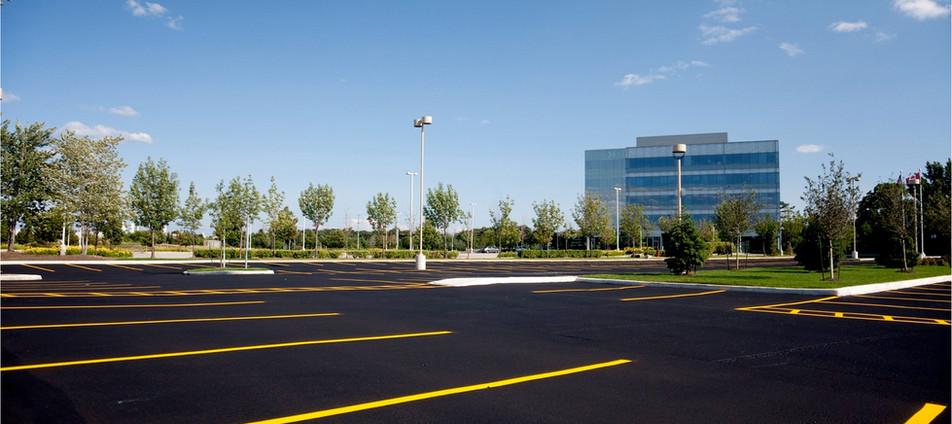 Striped Asphalt Parking Lot