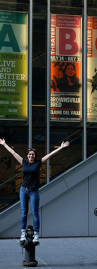 Elaine stands outside of 59E59 Theaters at her off Broadway debut of Brownsville Bred