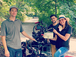 Elaine Del Valle directing Burt's Bees Commercial in Central Park NY