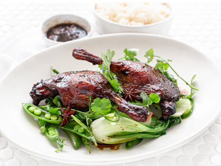 Glazed asian duck legs