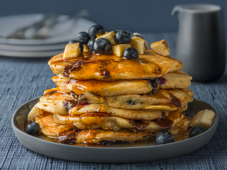 Blueberry, banana and choc chip pancakes