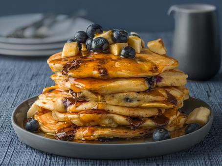 Blueberry, banana and choc chip pancakes