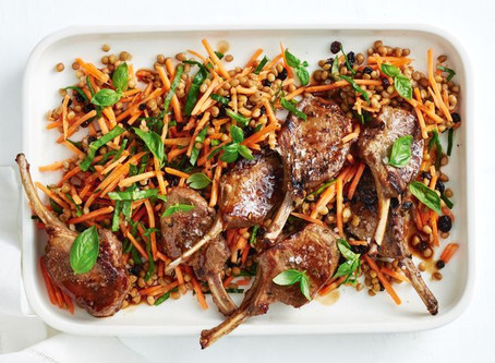 Sticky honey lamb with carrot and lentil slaw