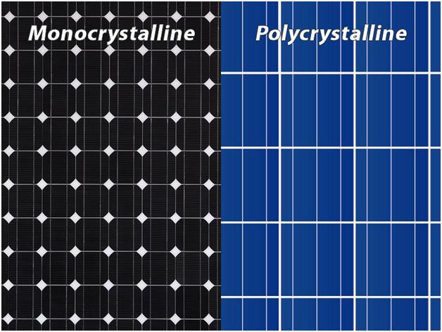 Sự khác nhau của pin mặt trời poly và mono về hình ảnh
