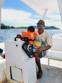 Ray piloting Sylvain's trimaran