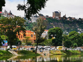 View of the Rova of Antananarivo, or Queen's Palace from Lac Anosy