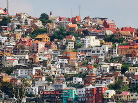 Hive of houses on Analamanga hill from Lisy Art Gallery