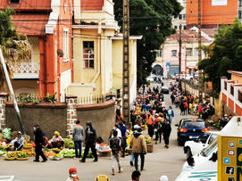Sellers along the street in Antananarivo