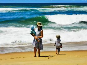 Marina, Nic and Ray at the ocean beach