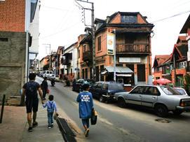 Viktor with Ray walking up a street in Antananarivo