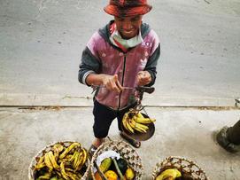 Fruit door seller at our door