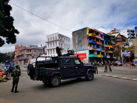 The military patrolling the city center