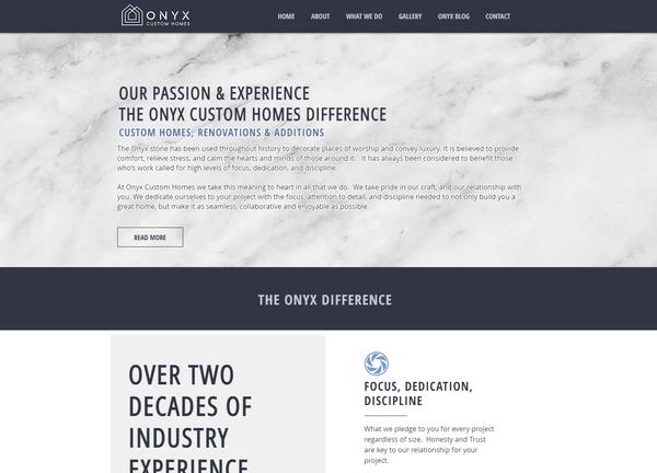 Onyx Custom Homes Website Design - Calga