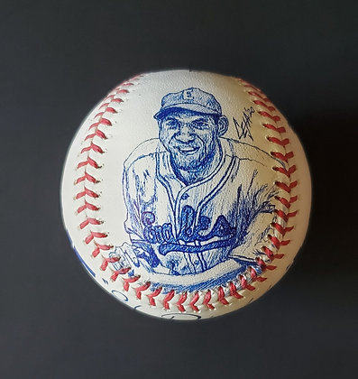 Willie Wells Sketched MLB Baseball