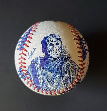 Jason Voorhees Sketch MLB baseball Signed  by First Jason Ari Lehman