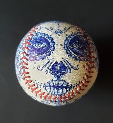 Dia De Los Muertos Themed Sketched MLB Baseball