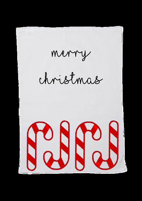 Christmas Tea Towel Candy Cane Design