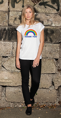Ladies Rainbow Thank You T-Shirt