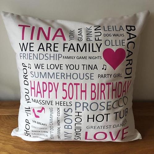 Word Art Cushion Cover