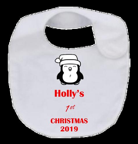 1st Christmas Penguin Bib