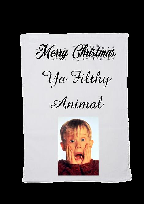 Christmas Tea Towel Ya Filthy Animal Design