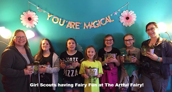 Girl Scout Troop making Fairy Gardens
