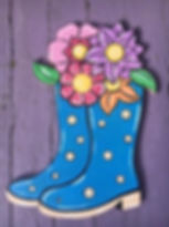 Painted rainboots with flowers