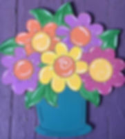 Painted Flowers in Pot