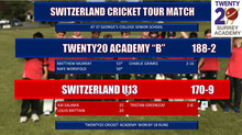 "Twenty20 Cricket Academy ""B"" narrowly beat Switzerland Under 13 in high scoring game"