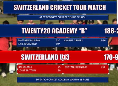 """Twenty20 Cricket Academy """"B"""" narrowly beat Switzerland Under 13 in high scoring game"""
