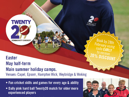 Twenty20 Cricket Summer Camps return to Capel