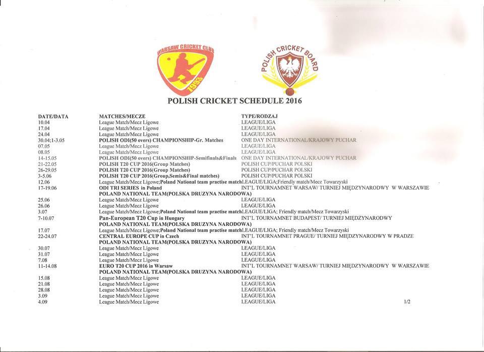 Poland Cricket Fixtures