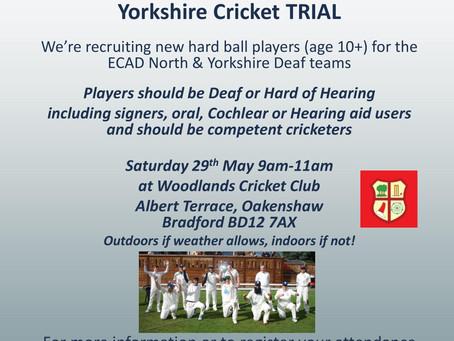 Deaf Cricket Trial in Bradford Saturday 29th May