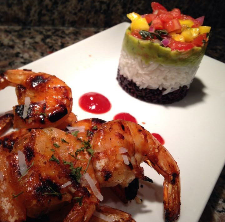 Grilled Shrimp Black Bean _ Rice Stack.J