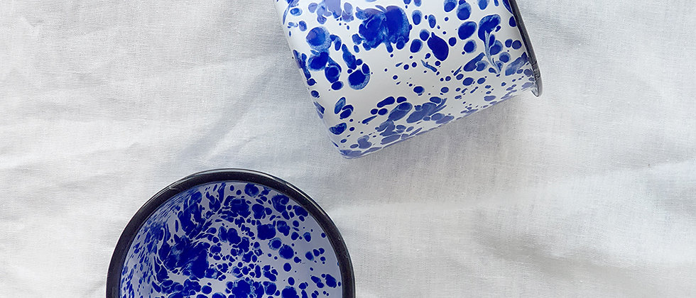 XL Paint Splatter Enamel Mug Royal Blue