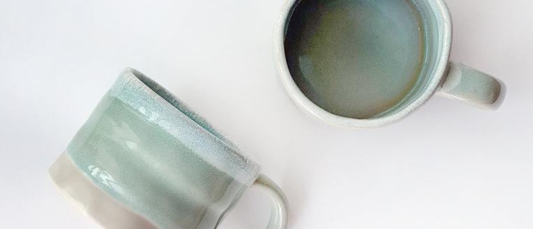 Turquoise Rim Glazed Ceramic Cup