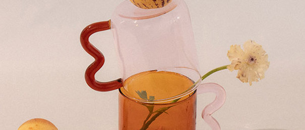 Wavy Handle Pink Glass Cup