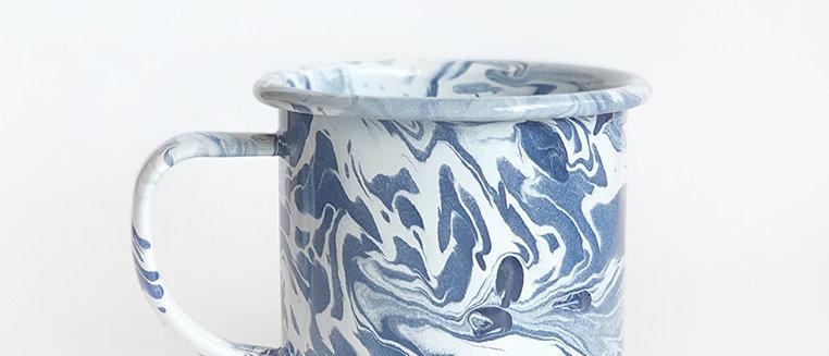 Marble Swirl Enamel Mug Pastel Indigo