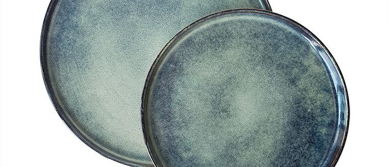 Turquoise Ink Glazed Ceramic Plate Set