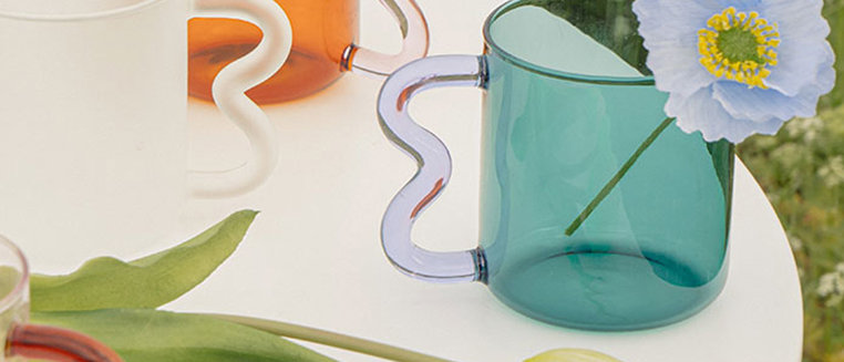 Wavy Handle Emerald Glass Cup