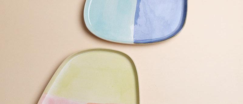 Tri-coloured Rainbow Plate Set of 2