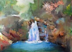 Falling _飄浮_Oil on canvas _24x33cm