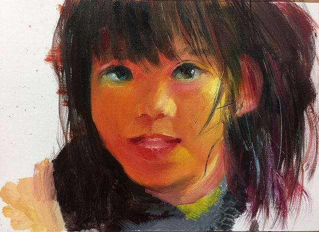 小女孩_Little girl _oil on canvas _24x33cm
