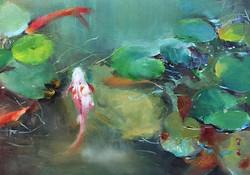 游來游去_Free swimming_oil on canvas _24x33cm