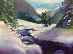雪谷_Snow valley _oil on canvas _24x33cm