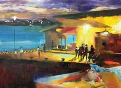 黃昏的碼頭_Pier _oil on canvas _24x33cm