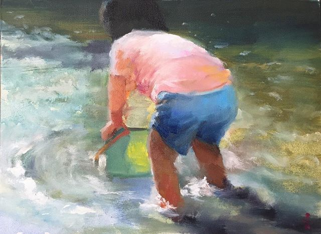車城戲水_Water playing _oil on canvas _23x34cm