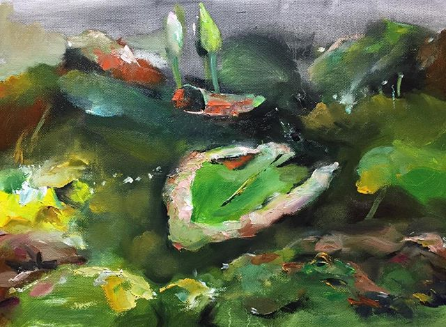 午荷_Lotus in the noon_oil on canvas _24x33cm
