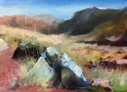 野草和石頭_Stones _oil on canvas _24x33cm