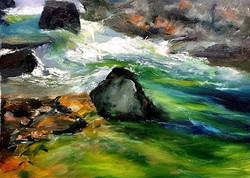水聲_Flowing _Oil on canvas _24x33cm